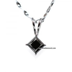 1.00 Carat Princess Cut Black Diamond Pendant With 14k White Gold