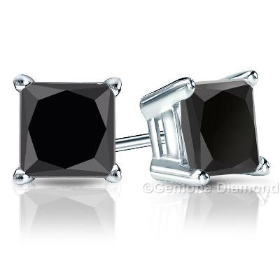5565b4f8b 4.00 Carat Natural Black Diamond Stud Earrings Princess Cut Crafted With 14k  White Gold 3.50 Carat Princess Cut Diamond Solitaire Stud Earrings In 14k  ...