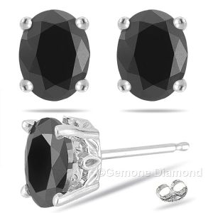 oval cut black diamond stud earrings