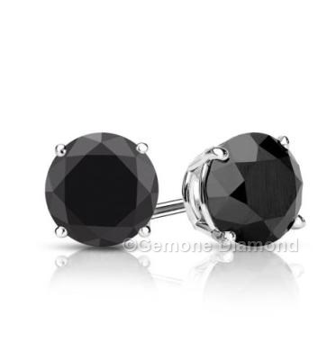 2 00 Carat Brilliant Natural Pair Round Cut Black Diamond Stud Earrings For Men In 14k White Gold 1 50