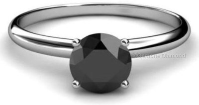 Round Cut Rings With Black Diamond In 14k White Gold For