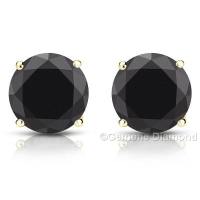 5 00 Carat Natural Round Cut Black Diamond 14k Yellow Gold Stud Earrings Online Real In White Goldnatural