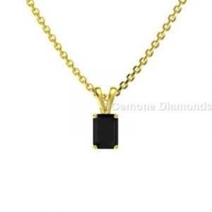 black diamond emerald cut pendant necklace