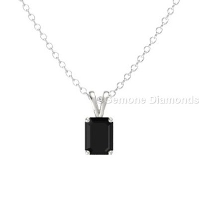 solitaire emerald cut diamond pendant
