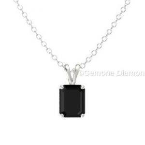 14k white gold emerald cut diamond pendant
