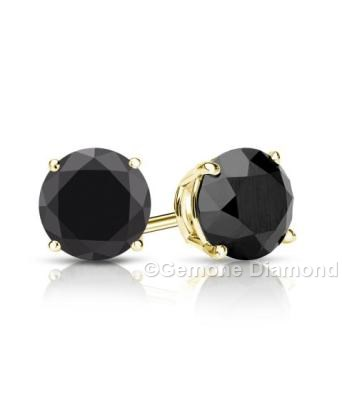 3 00 Carat With Brilliant Natural Round Cut Black Diamond Stud Earrings In 14k Yellow Gold White