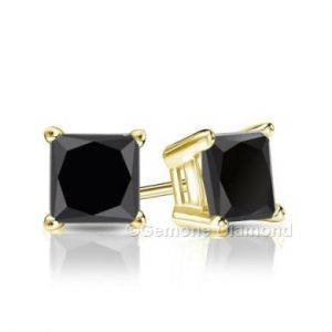 brilliant princess cut black diamond studs