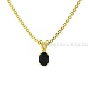 black oval cut diamond pendant necklace