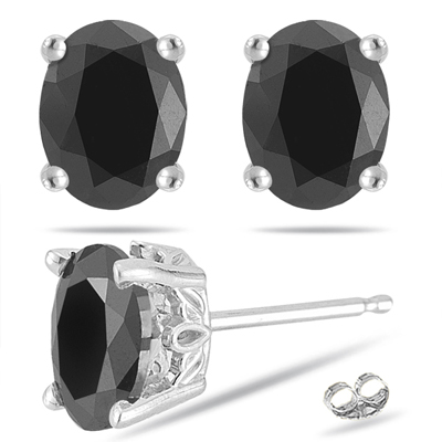 oval cut diamond black stud earrings