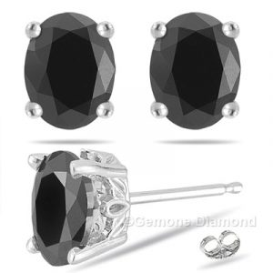 oval cut black diamond stud earrings online