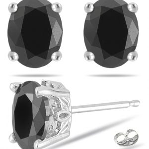 1 carat black diamond stud earrings