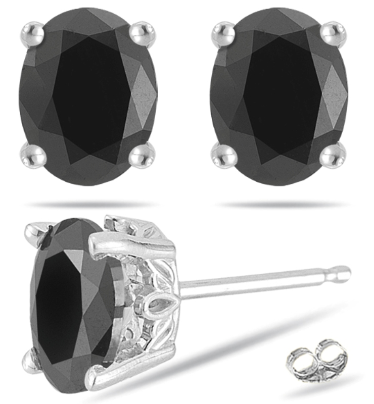 Pair Brilliant 1ct Diamond Stud Earrings With Oval Cut Black In 14k White Gold Yellow Shapely 3 Carat Solitaire Natural