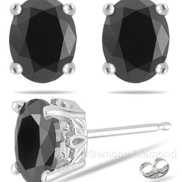204a5cb8444a5 4.00 Carat Natural Black Oval Cut Diamond Stud Earrings In 14k White Gold  Natural Oval Cut Black Diamond Stud Earrings 3.50 Carat In 14k White ...