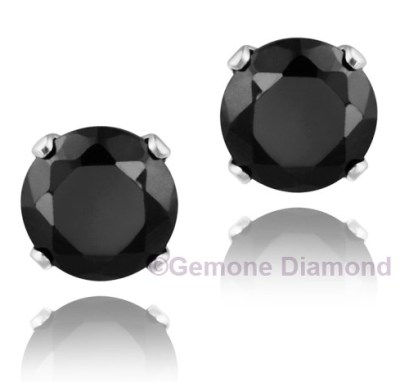 pair natural black diamond round brilliant cut stud earring