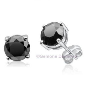 pair natural black diamond round brilliant cut stud earrings