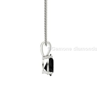 pretty pear cut natural black diamond pendant