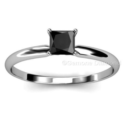Fine 1 Carat Princess Cut Engagement Ring With Natural Black Diamond
