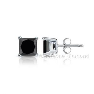 natural pair princess cut brilliant black diamond stud