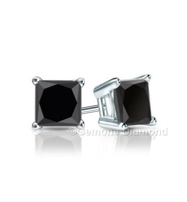 2 Carat Natural Pair Of Black Diamond Princess Cut Studs