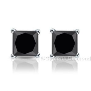 black diamond princess cut studs