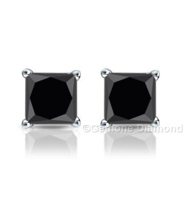 2 Carat Natural Pair Of Black Diamond Princess Cut Studs Earrings In 14k White Gold 1 50 Brilliant