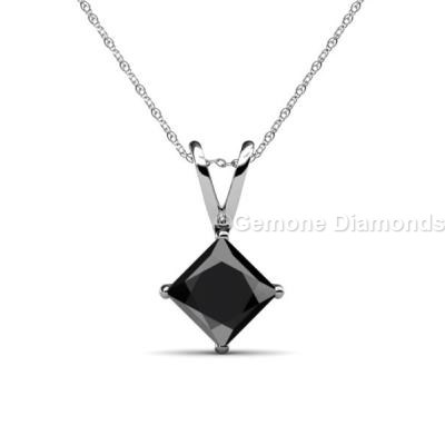 Princess cut diamond gold pendant from gemone diamonds online fine princess cut diamond gold pendant 14k white gold in 150 carat weight classy 1 carat natural princess cut black diamond pendant online with 14k white aloadofball Image collections