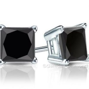 princess cut diamond stud earrings white gold