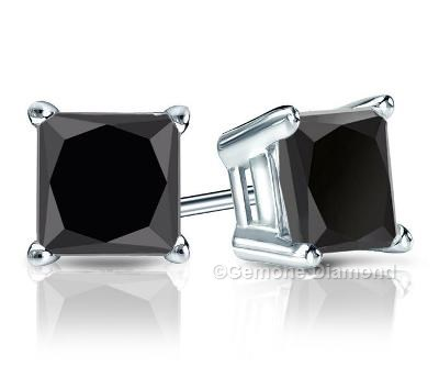 1 00 Carat Natural Princess Cut Diamond Stud Earrings 14k White Gold 0 50 Brilliant Black In Yellow Goldnatural