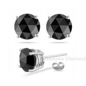 black diamond rose cut stud earrings