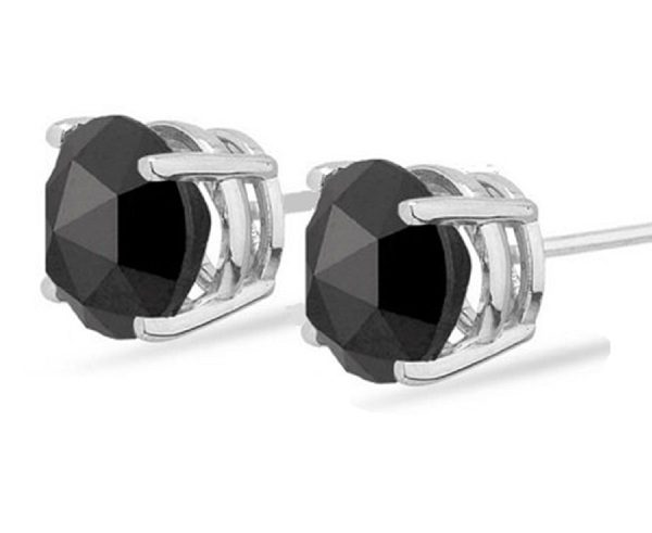 4 50 Carat Lovely Rose Cut Diamond Stud Earrings With A Natural Black In 14k White Gold Clic