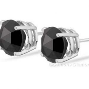rose cut black stud earrings