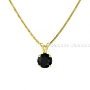 black diamond yellow gold pendant