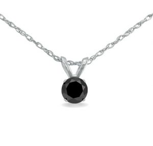 solitaire black diamond pendants
