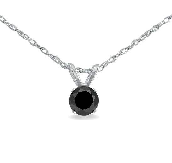 Solitaire diamond pendant necklace in 14k white gold for sale online pretty 14k white gold natural round black solitaire diamond pendant necklace 050 carat weight 050 carat natural black rose cut diamond earrings in black aloadofball Image collections