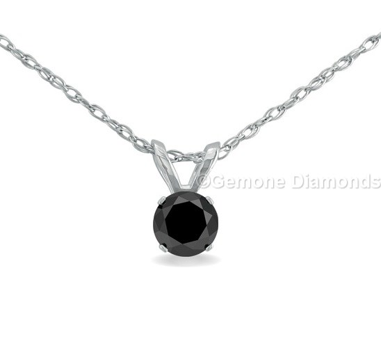 Solitaire necklace pendant with black diamond in 14k white gold online large image aloadofball