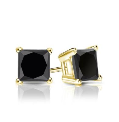 black diamond stud princess cut earrings