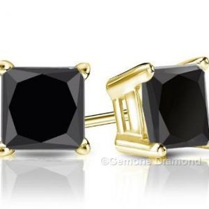 black diamond princess cut solitaire earrings