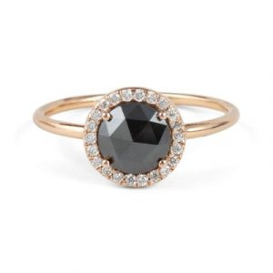 round brilliant rose cut black diamond ring