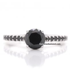 1.50 Carat Black Diamonds Engagement Rings For Bride