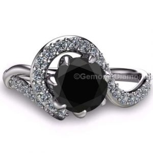 claw prong black diamond rings
