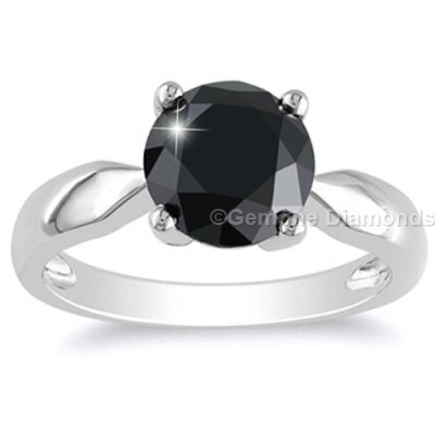 round brilliant cut black diamond engagement ring