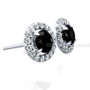 round brilliant cut diamond halo diamond earrings