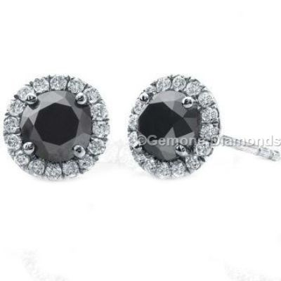 14k white gold halo black diamond earrings