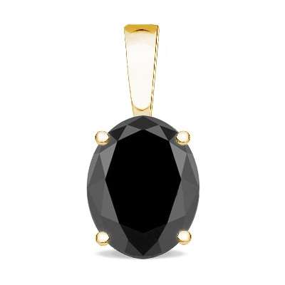 black oval cut diamond yellow gold pendant