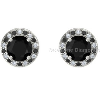 black round diamond halo earrings