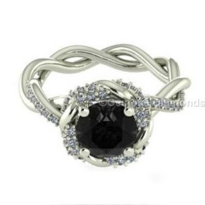 black and white diamond rope design ring
