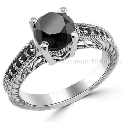 Antique Engagement Rings With Black Diamonds At Best Price Online