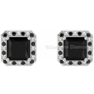 3.50 carat natural black diamond prinncess cut nice halo stud earrings with black and white accents