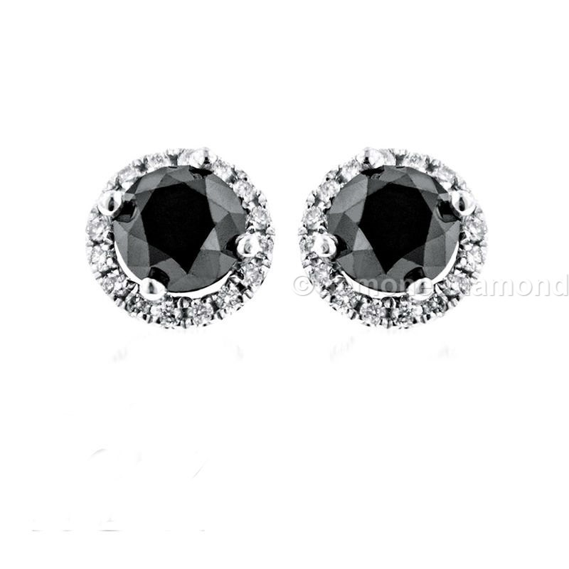 Natural Black Diamond Round Cut Halo Earrings 3 50 Carat In 14k White Gold 2 With