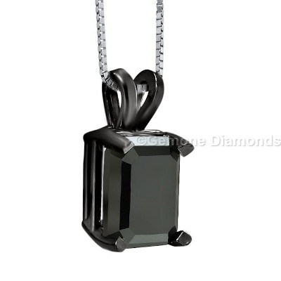 black diamond emerald cut pendants